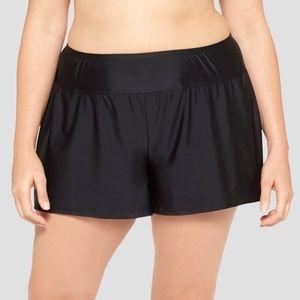 Women's Plus Size Boyshort Swim Bottom - Black